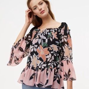 LOFT Floral Bell-Sleeve Cold-Shoulder Top Plus